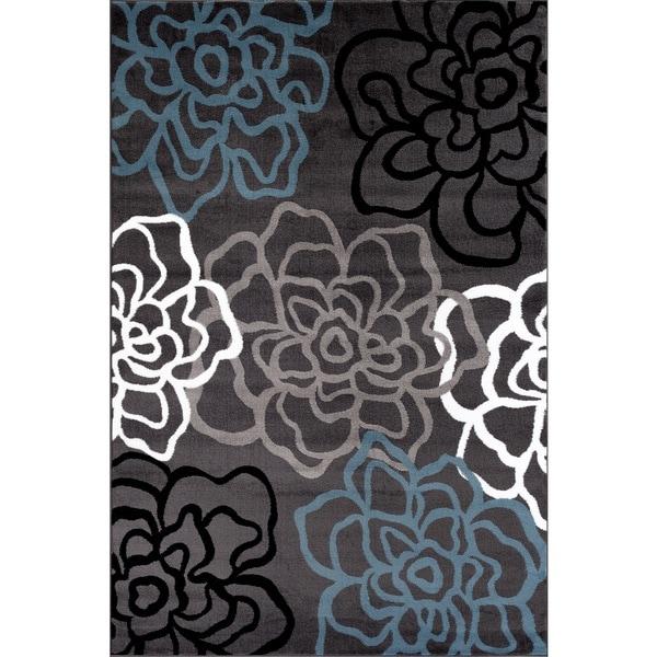 Contemporary Modern Fl Flowers Grey Polypropylene Area Rug 9 X27