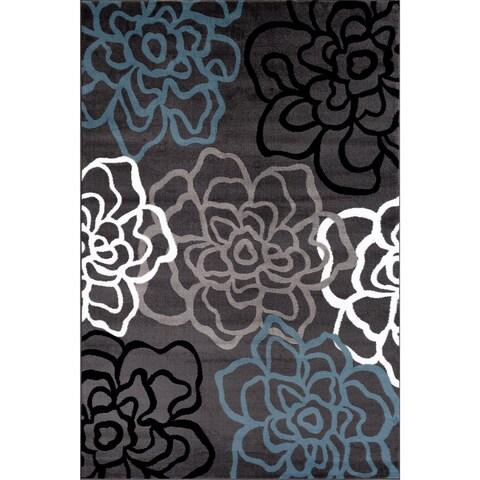 Contemporary Modern Floral Flowers Grey Polypropylene Area Rug (9' x 12') - 9' x 12'
