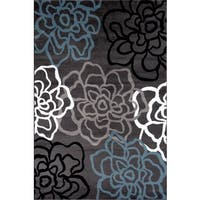 Contemporary Modern Floral Flowers Grey Polypropylene Area Rug (9' x 12') - 9' x 12'