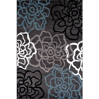 Contemporary Modern Floral Flowers Grey Polypropylene Area Rug (9' x 12')