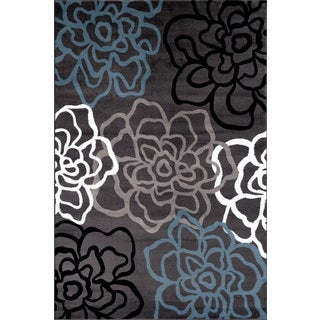 Contemporary Modern Floral Flowers Grey Polypropylene Area Rug - 9' x 12'