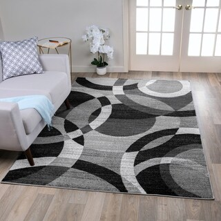 Contemporary Modern Circles Abstract Grey Area Rug (9' x 12') - 9' x 12'
