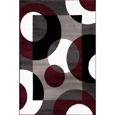 Burgundy Polypropylene Modern Circles Area Rug (9' x 12') - 9' x 12'