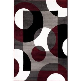 Burgundy Polypropylene Modern Circles Area Rug (9' x 12')