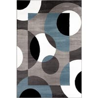 Modern Blue Circles Area Rug - 9' x 12'