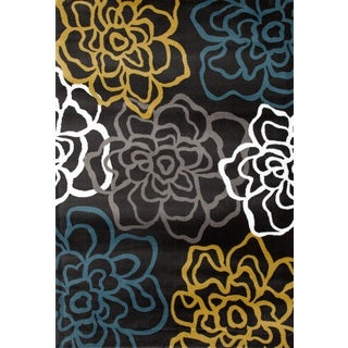 Yellow/Grey Polypropylene Contemporary Modern Floral Flowers Area Rug (5'3 x 7'3)