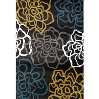 Yellow/Grey Polypropylene Contemporary Modern Floral Flowers Area Rug - 5'3 x 7'3