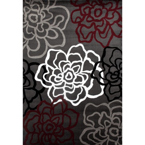 Red/ Grey Polypropylene Contemporary Modern Floral Flowers Area Rug - 5'3 x 7'3