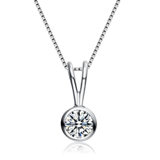 Collette Z Sterling Silver Cubic Zirconia Circle Solitaire Necklace