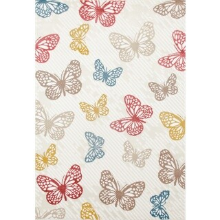 Multicolored Polypropylene Modern Butterfly Area Rug (5'3 x 7'3)