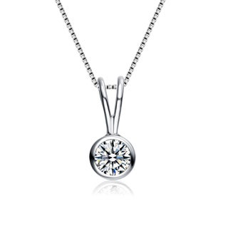 Collette Z Sterling Silver Cubic Zirconia Circle Solitaire Necklace White