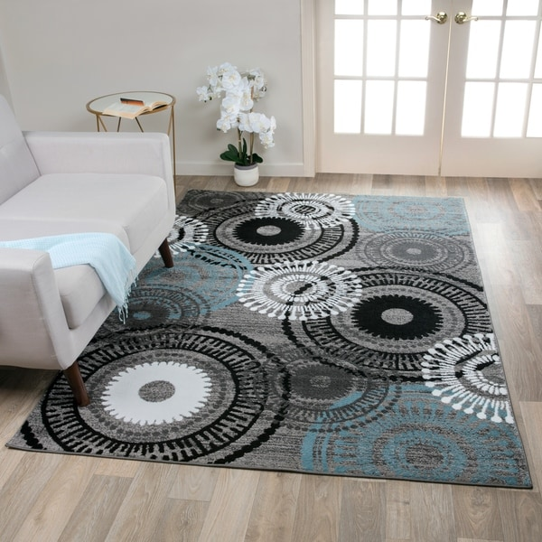 "Contemporary Circles Grey/Blue Polypropylene Area Rug (5'3 x 7'3) - 5'3"" x 7'3"""
