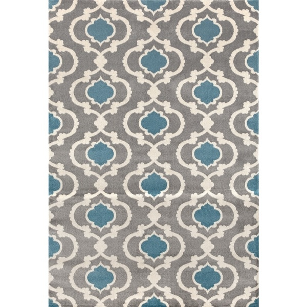 Contemporary Moroccan Trellis Grey Blue Polypropylene