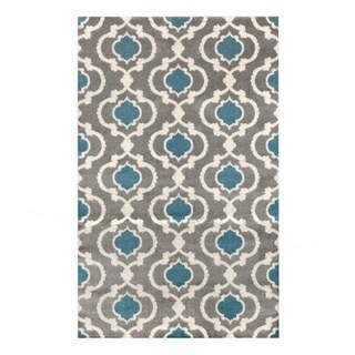 Contemporary Moroccan Trellis Grey/Blue Polypropylene Indoor Area Rug (3'3 x 5')