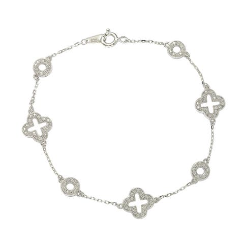 Suzy L. Sterling Silver White Cubic Zirconia Clover and Circles Bracelet