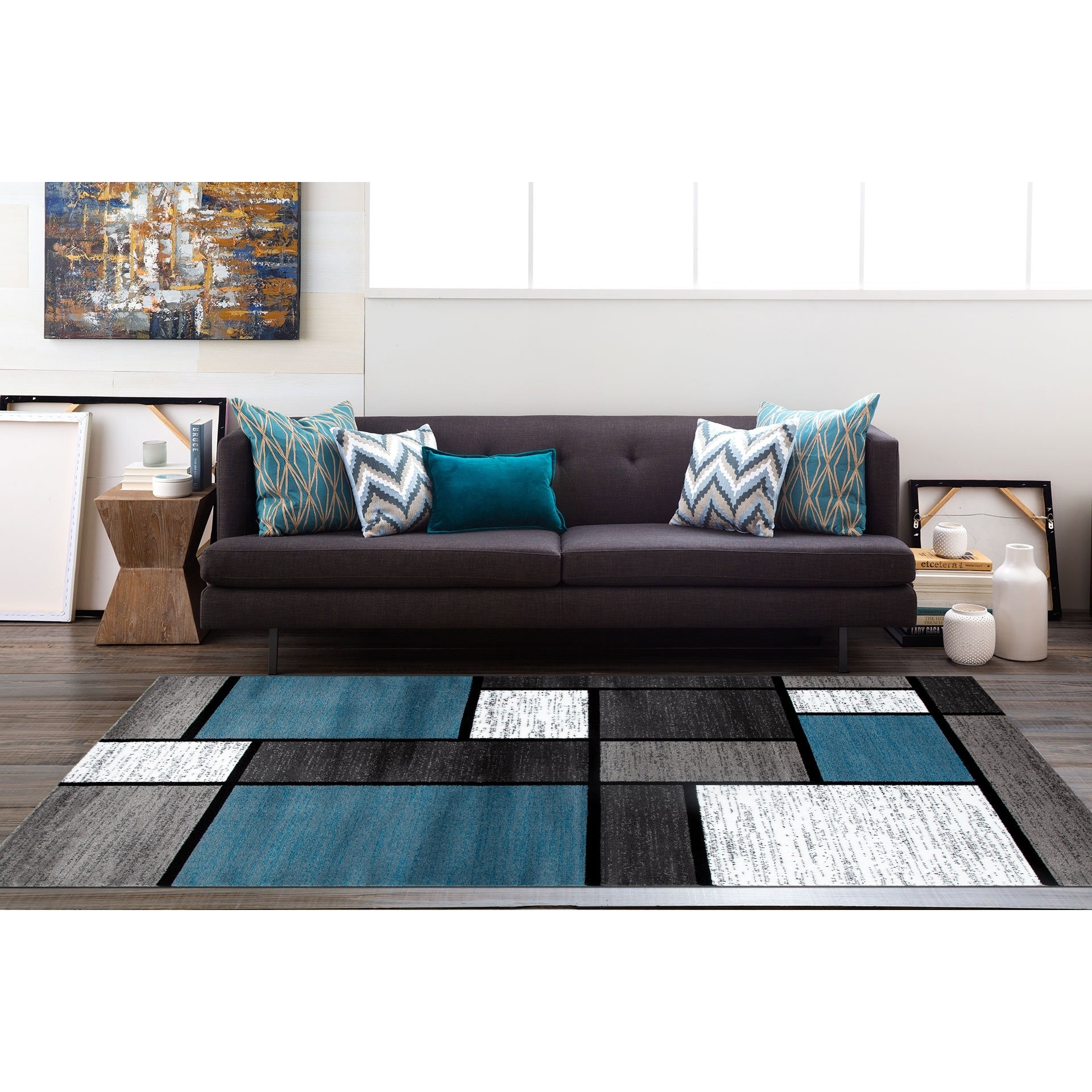 Osti Modern Boxes Blue Black Grey Contemporary Area Rug 5 3 X 7 3