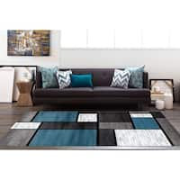 OSTI Modern Boxes Blue/Black/Grey Contemporary Area Rug - 5'3 x 7'3