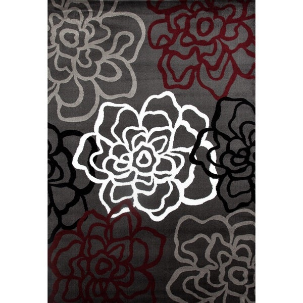 Shop Contemporary Modern Red Grey Floral Flowers Area Rug