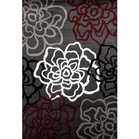 Contemporary Modern Red/Grey Floral Flowers Area Rug - 3'3 x 5'3