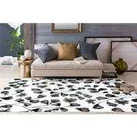 White/Grey/Blue Polypropylene Modern Flower Area Rug - 3'3 x 5'3