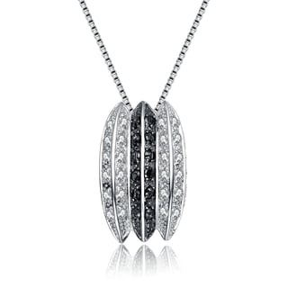 Collette Z Sterling Silver Cubic Zirconia Oreo Necklace Black