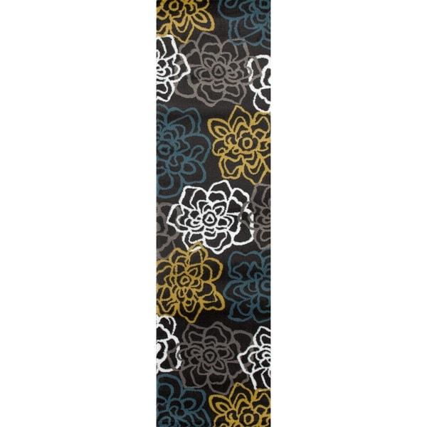 Yellow/Grey Polypropylene Contemporary Modern Floral Flowers Area Rug ...
