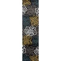 Yellow/Grey Polypropylene Contemporary Modern Floral Flowers Area Rug - 2' x 8'