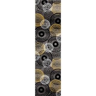 Yellow/ Grey Contemporary Circles Runner Rug - 2' x 8'