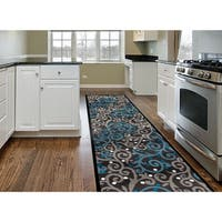 Grey/Blue Polypropylene Modern Scroll Area Rug Runner - 2' x 8'