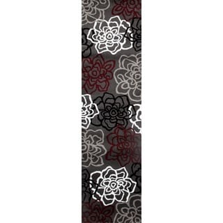 Contemporary Floral Red/Grey Polypropylene Area Rug (2'x7'2)