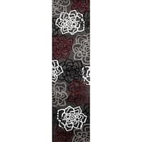 Contemporary Floral Red/Grey Polypropylene Area Rug - 2' x 8'