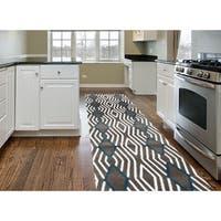 Contemporary Diamond Stripe Grey/Blue Area Rug Runner (2' x 7'2) - 2' x 8'