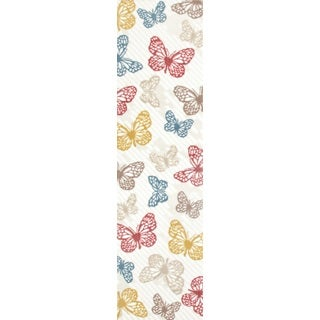 Multicolored Polypropylene Modern Butterfly Area Rug Runner (2'x7'2)
