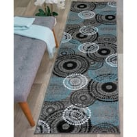 "Contemporary Circles Grey/Blue Area Rug Runner (2' x 7'2) - 2' x 7'2"" Runner"
