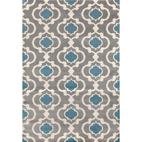 Moroccan Contemporary Grey/Blue Trellis Indoor Area Rug - 2' x 3'