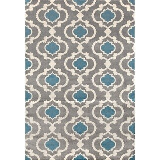 Moroccan Contemporary Grey/Blue Trellis Indoor Area Rug (2' x 3')