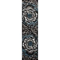 "Modern Large Floral Pattern Blue/Grey Area Rug Runner - 2' x 7'2"" Runner"