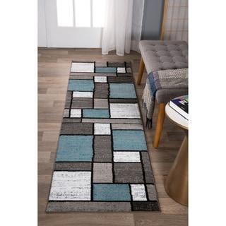 "Blue/Gray Polypropylene Contemporary Modern Boxes Area Rug Runner - 2' x 7'2"" Runner"