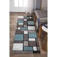 Blue/Gray Polypropylene Contemporary Modern Boxes Area Rug Runner - 2' x 8'