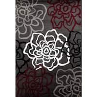 Contemporary Floral Red/Grey Polypropylene Area Rug - 2' x 3'