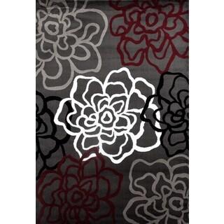Contemporary Floral Red/Grey Polypropylene Area Rug - 2' x 3'