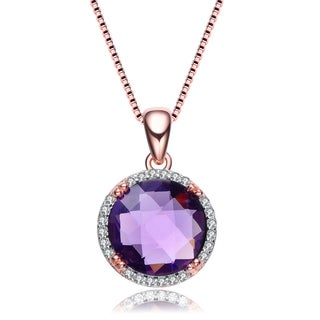 Collette Z Rose Gold Overlay Purple Cubic Zirconia Necklace