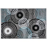 Contemporary Circles Grey/Blue Area Rug (2'x3') - 2' x 3'