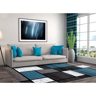 Blue/ Grey Polypropylene Contemporary Modern Boxes Area Rug - 2' x 3'