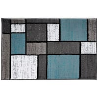 Blue/Grey Polypropylene Contemporary Modern Boxes Area Rug - 2' x 3'