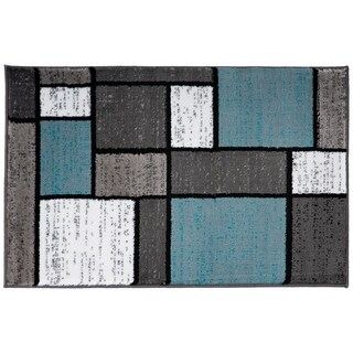 Blue/Grey Polypropylene Contemporary Modern Boxes Area Rug (2' x 3')