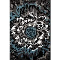 Modern Large Floral Pattern Blue/ Grey Area Rug - 2' x 3'