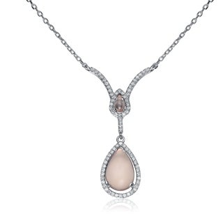 Collette Z C.Z. Sterling Silver Rhodium Plated Champagne Teardrop Necklace