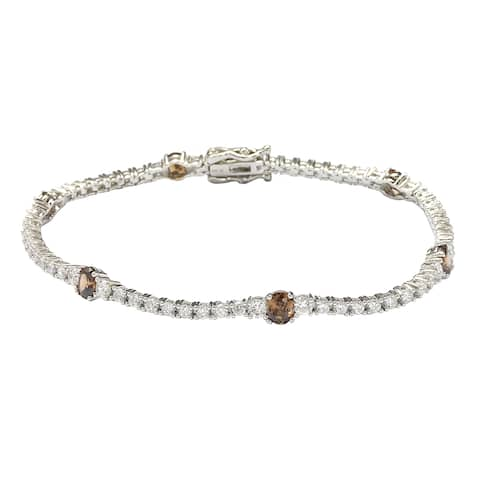 Suzy Levian Sterling Silver Brown and White Cubic Zirconia Tennis Bracelet