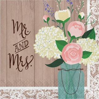 Rustic Wedding Mr. and Mrs. Lunch Napkins (Case of 192)